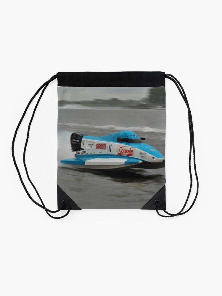 Alternate view of Powerboat Racing at Oulton Broad - Formula Grand Prix - Scott Curtis Drawstring Bag