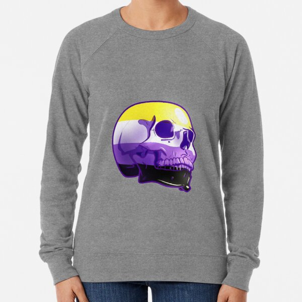 Nonbinary Pride Skull Lightweight Sweatshirt