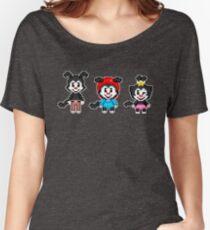 Animaniacs - Yakko, Wakko, & Dot Warner Chibi Pixels Women's Relaxed Fit T-Shirt