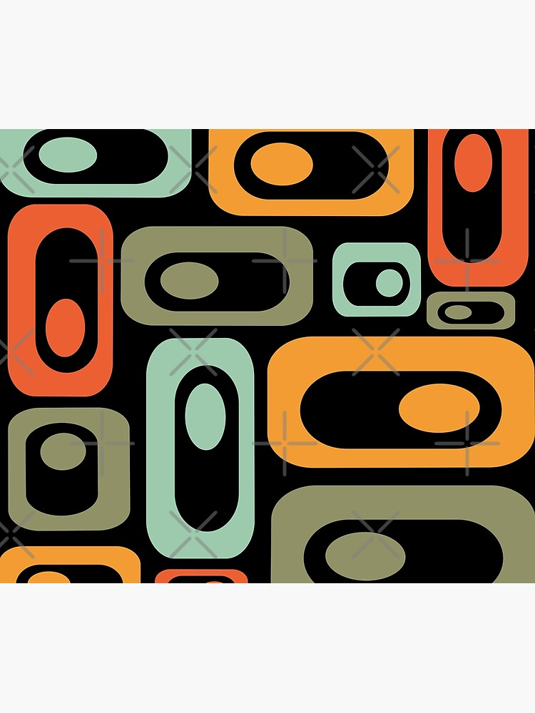 Mid-Century Modern Utopia: Retro Atomic Age Pattern in Celadon, Olive, and Orange on Black. by kierkegaard
