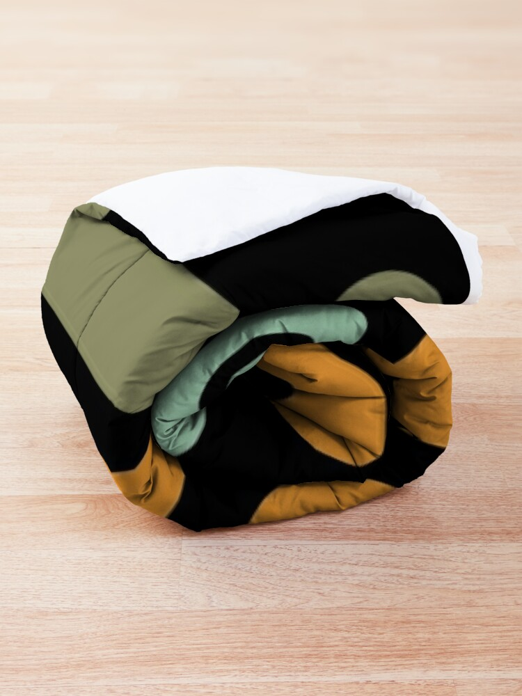 Alternate view of Mid-Century Modern Utopia: Retro Atomic Age Pattern in Celadon, Olive, and Orange on Black. Comforter