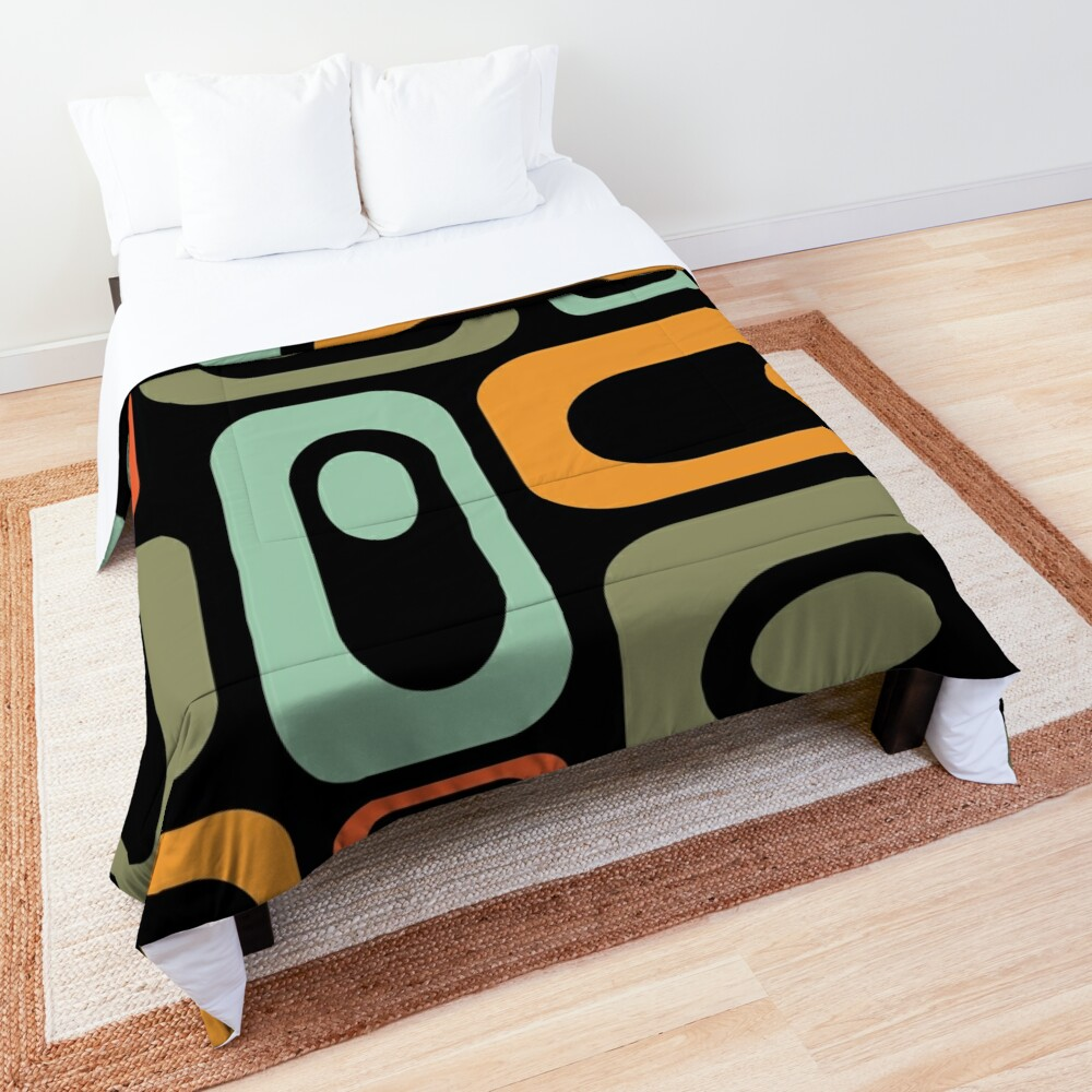 Mid-Century Modern Utopia: Retro Atomic Age Pattern in Celadon, Olive, and Orange on Black. Comforter