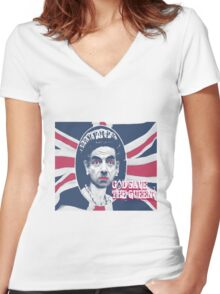 GOD SAVE THE QUEEN Women's Fitted V-Neck T-Shirt