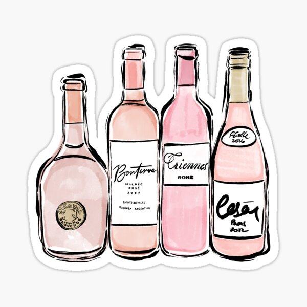 Impresión de vino rosado Pegatina
