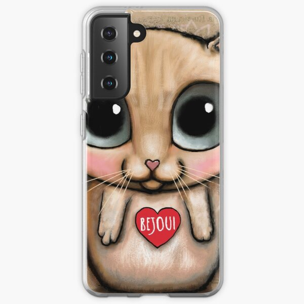 Red Cat with big eyes and Keep it Simple Samsung Galaxy Soft Case