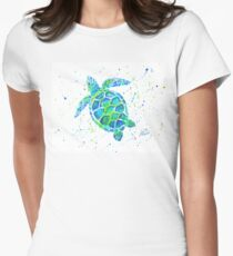Sea Turtle by Jan Marvin Women's Fitted T-Shirt