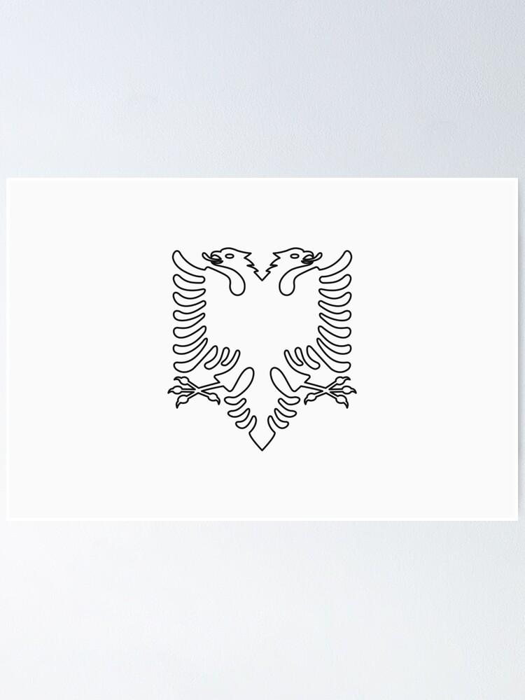 Alternate view of Albania Flag · Black Symbol · Outlined Poster