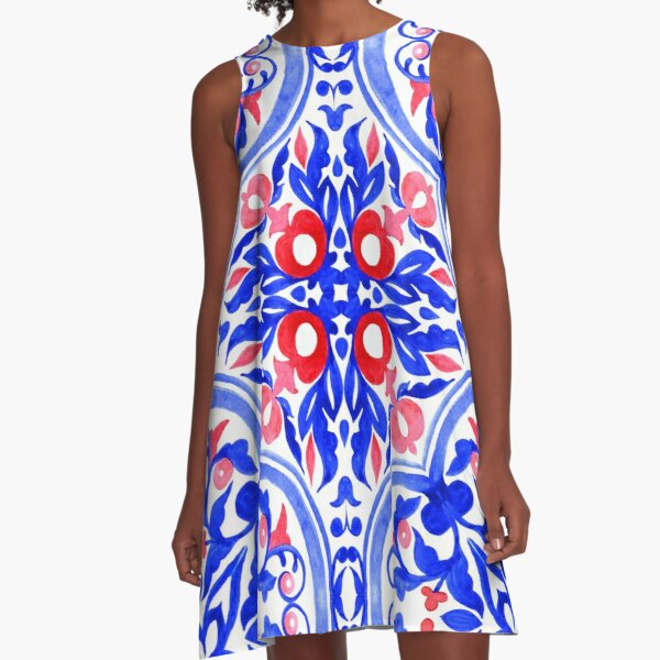 Portuguese azulejo tiles. Gorgeous patterns.  A-Line Dress