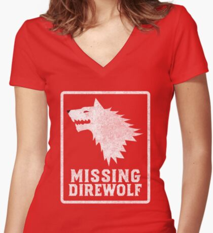 Missing Direwolf  Fitted V-Neck T-Shirt