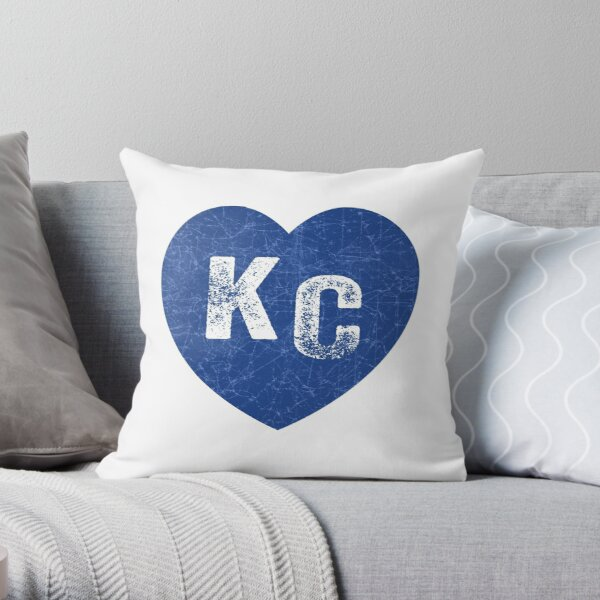 Royal Blue KC Blue Heart Kansas City Hearts I Love Kc heart Kansas city KC Face mask Kansas City facemask Throw Pillow