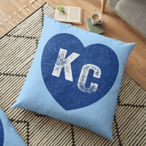 Royal Blue KC Blue Heart Kansas City Hearts I Love Kc heart Kansas city KC Face mask Kansas City facemask Floor Pillow
