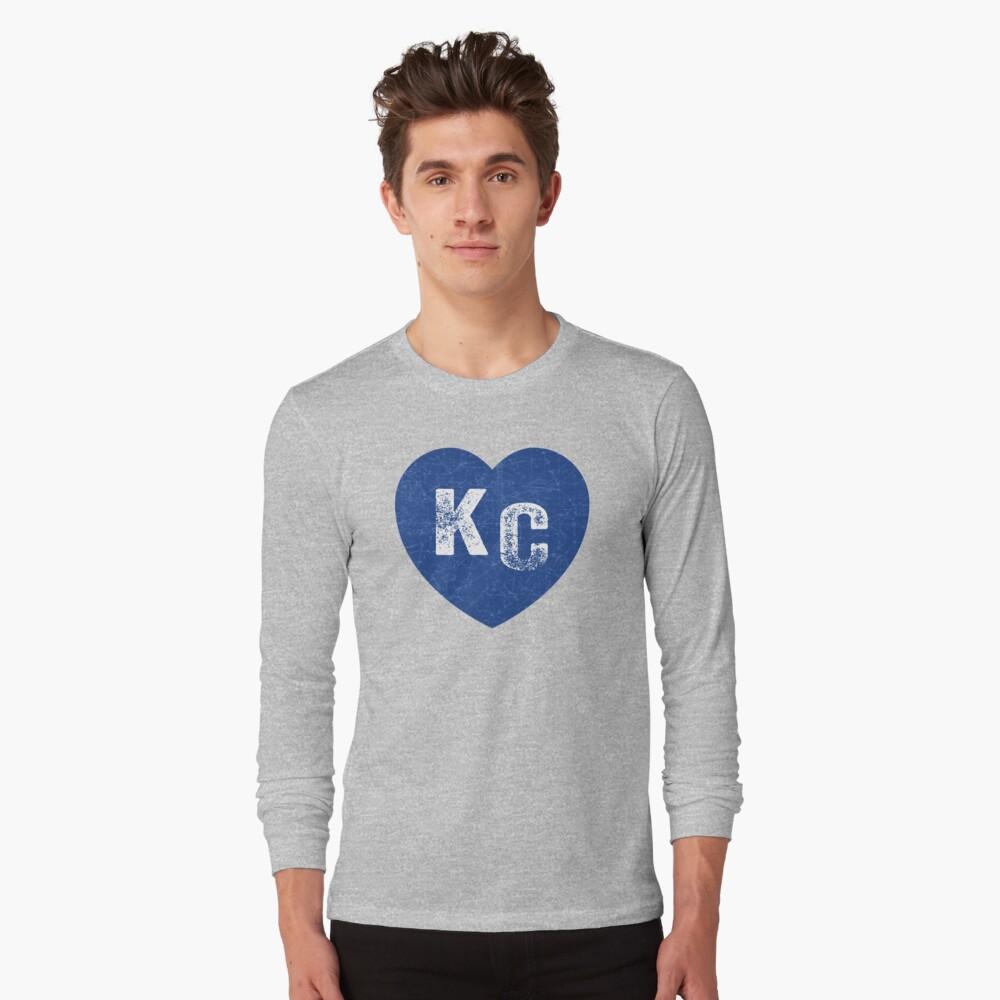 Royal Blue KC Blue Heart Kansas City Hearts I Love Kc heart Kansas city KC Face mask Kansas City facemask Long Sleeve T-Shirt