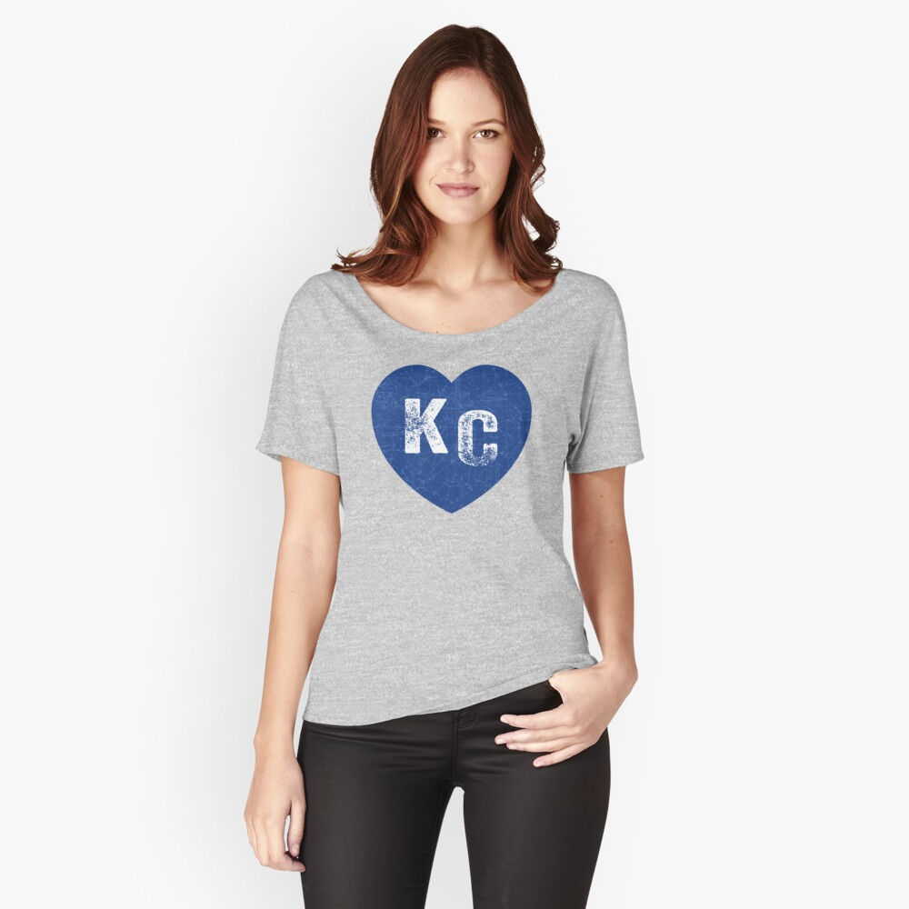 Royal Blue KC Blue Heart Kansas City Hearts I Love Kc heart Kansas city KC Face mask Kansas City facemask Relaxed Fit T-Shirt