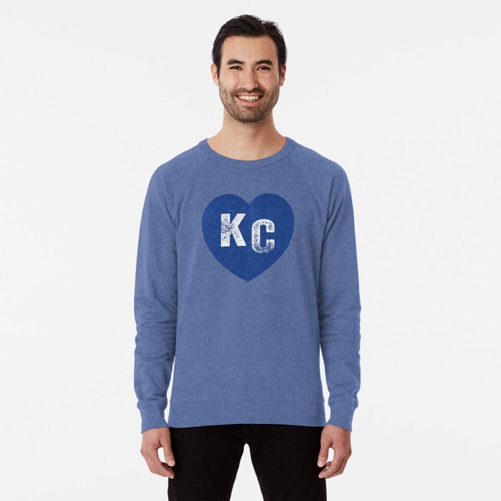 Royal Blue KC Blue Heart Kansas City Hearts I Love Kc heart Kansas city KC Face mask Kansas City facemask Lightweight Sweatshirt