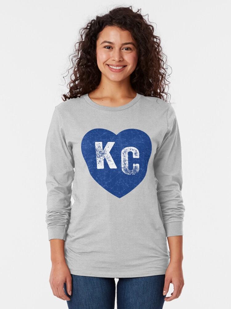Alternate view of Royal Blue KC Blue Heart Kansas City Hearts I Love Kc heart Kansas city KC Face mask Kansas City facemask Long Sleeve T-Shirt