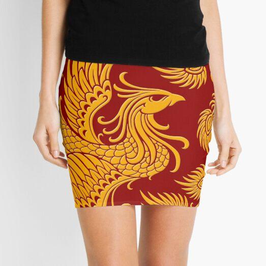 Traditional Yellow Chinese Phoenix Circle Mini Skirt