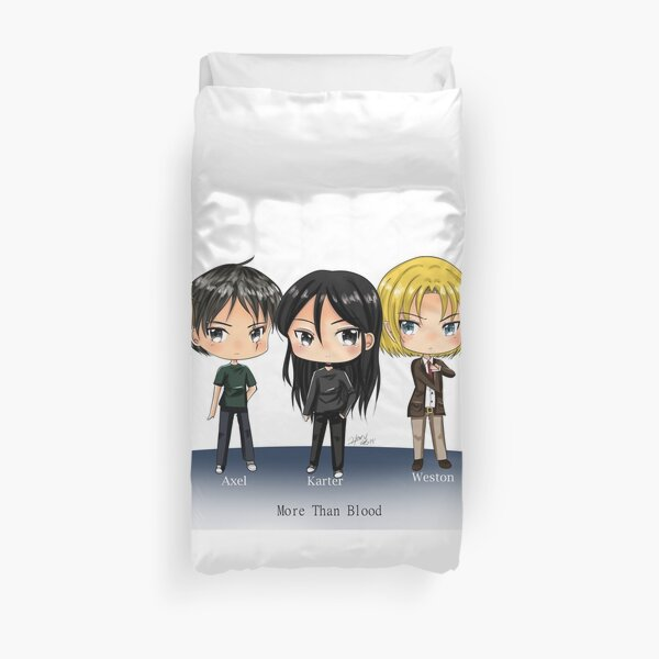 Karter and his vampires chibis from Book More Than Blood Duvet Cover