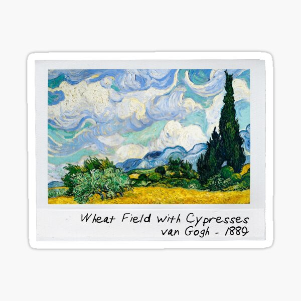 wheat field with cypresses Sticker
