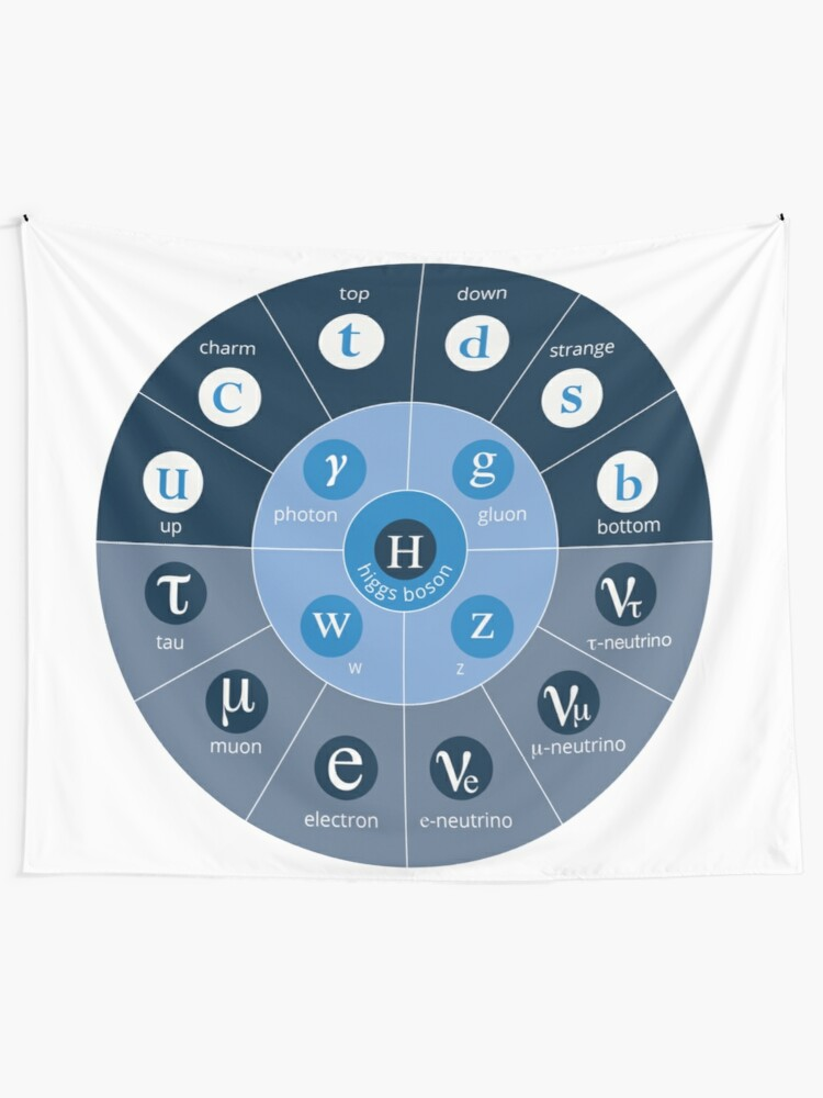 Alternate view of #Standard #Model of #Particle #Physics.  Interactions: electromagnetic, weak, strong. Elementary: electron, top quark, tau neutrino, Higgs boson, ... Tapestry