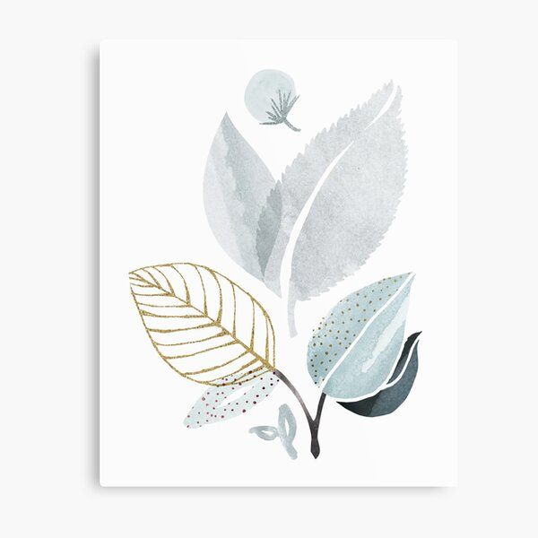 Sage and Such Abstract Watercolor Botanical Metal Print