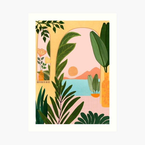 Moroccan Coast Landscape Illustration Art Print