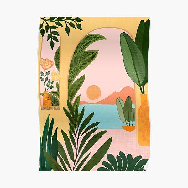 Moroccan Coast Landscape Illustration Poster