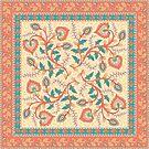Quadratisches dekoratives Design mit Ornament und Rahmen. Indischer Stil. Kalamkari. von Skaska