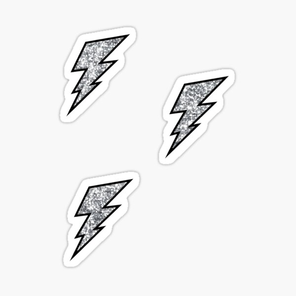 silver lightning bolt set Sticker