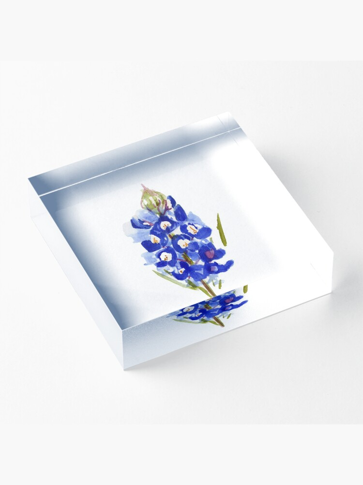 Alternate view of Bluebonnet Watercolor Illustration Texas State Flower Acrylic Block