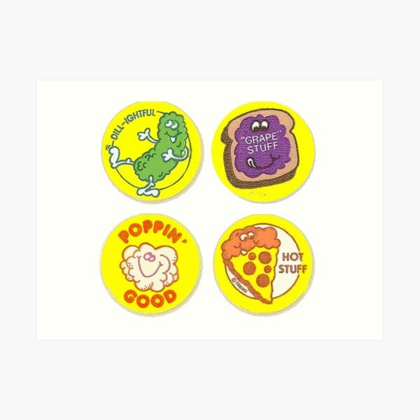 4 x Retro Scratch 'N Sniff Stickers Art Print