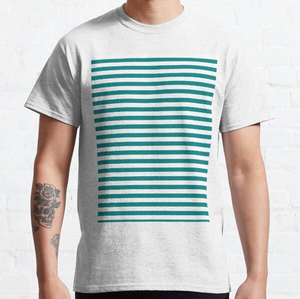 Teal Green and White Horizontal Stripes Classic T-Shirt