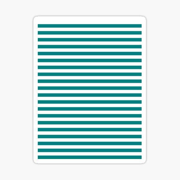 Teal Green and White Horizontal Stripes Sticker