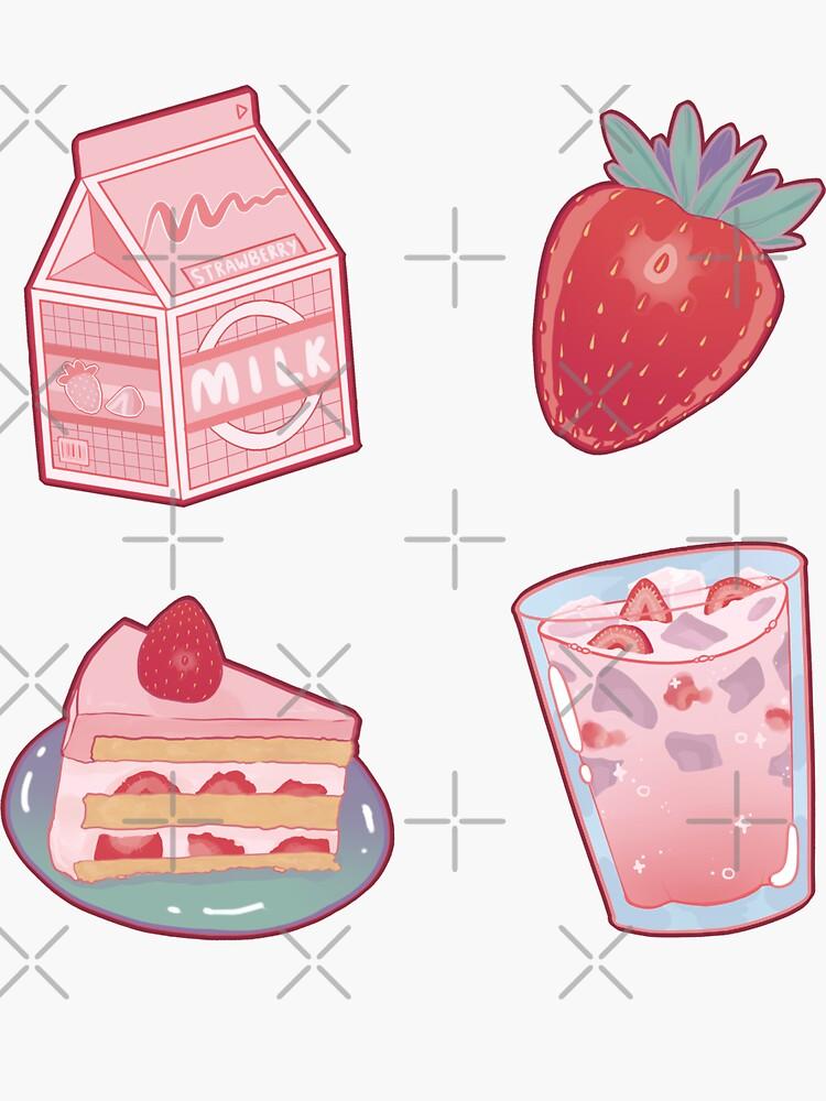 Strawberry Milk Sticker Pack by prismapansy