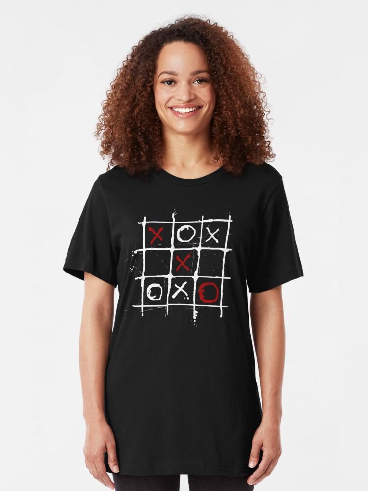 Alternate view of Tic - Tac - Blood III (B/W). Slim Fit T-Shirt