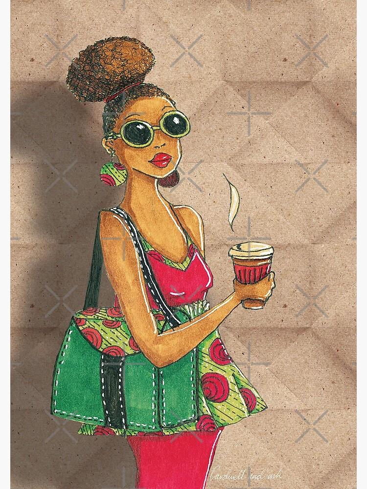 Modern African woman- Morning coffee by cardwellandink