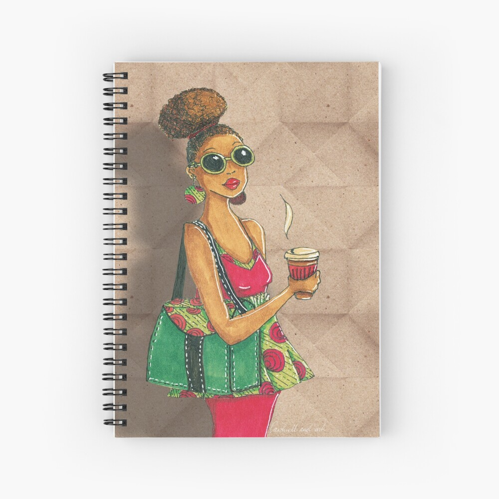 Modern African woman- Morning coffee Spiral Notebook