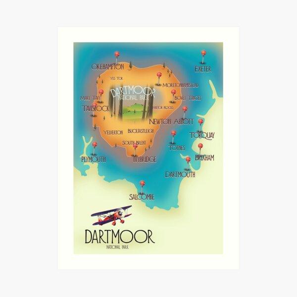 Dartmoor National Park Map Art Print