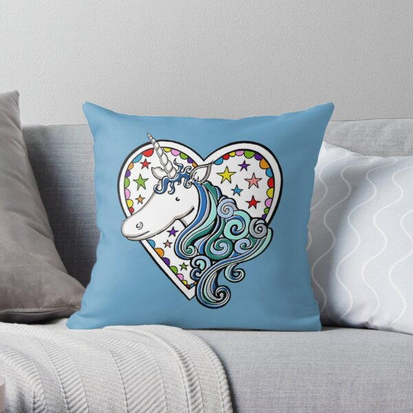 Unicorn, Heart and Stars Pattern 4 Throw Pillow