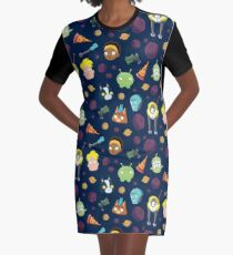 Final Space Character Pattern Graphic T-Shirt Dress