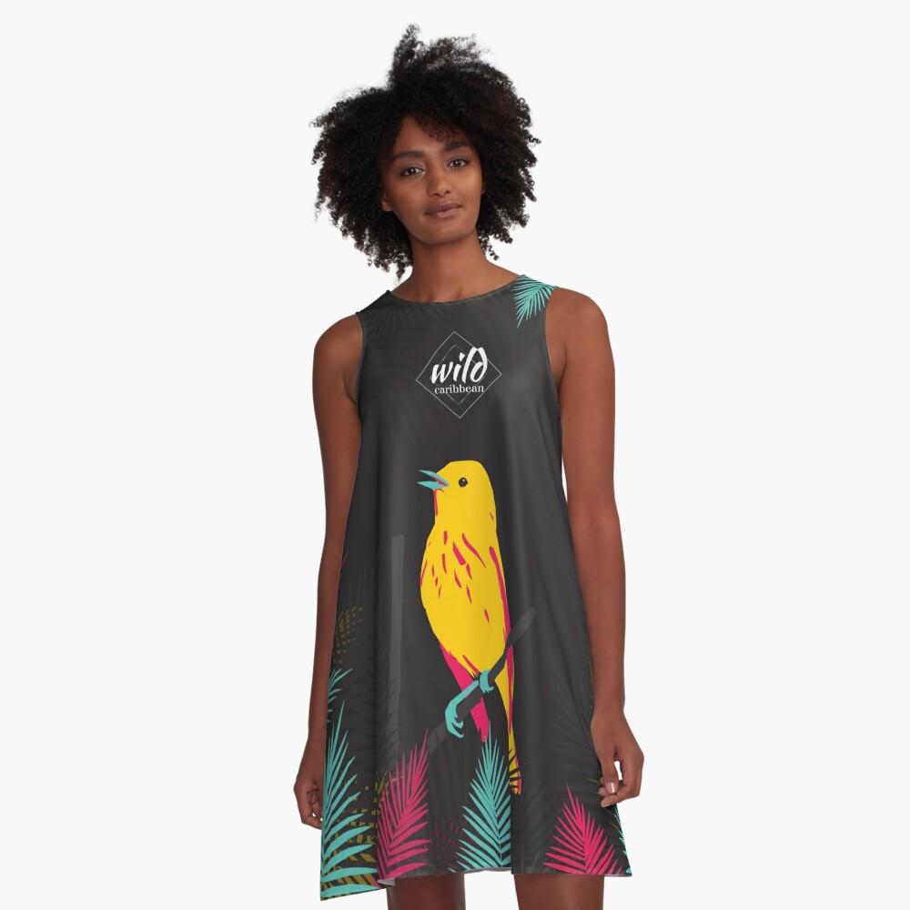 Robe trapèze «Oiseau jaune sur fond noir»