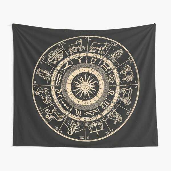 Hand Drawn Zodiac Chart | Jet Black & Bone White Tapestry