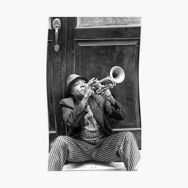 Trompeter in der Altstadt von Havanna in Kuba Poster