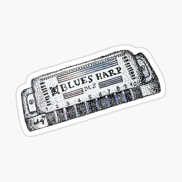 Blues Harmonica Sticker