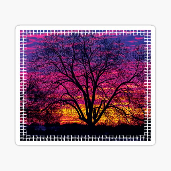 Colorful Pecan Tree Silhouette Sticker
