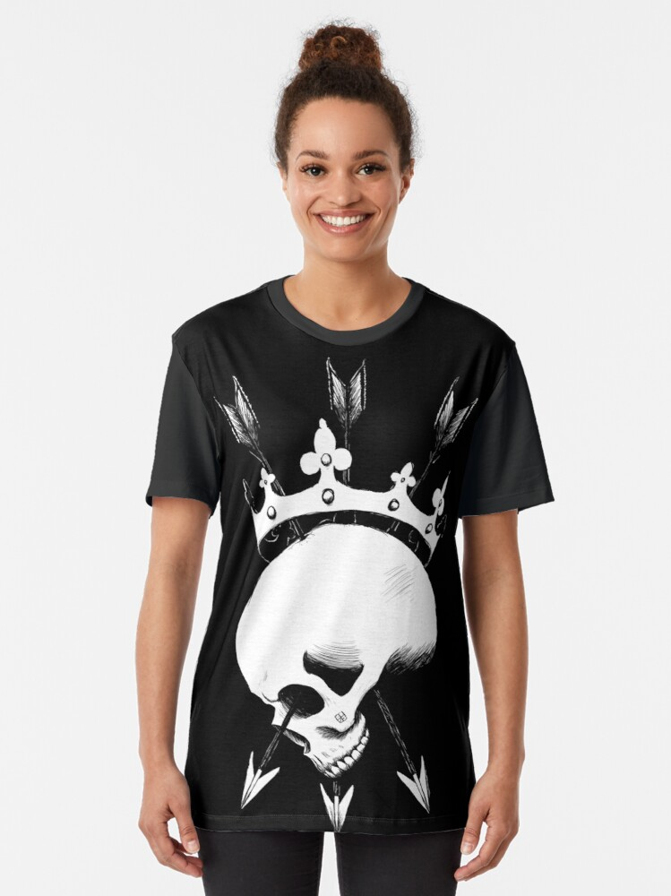 Alternate view of Pierced Crowned Skull Graphic T-Shirt