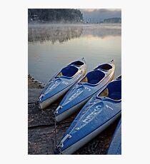 Kayak boats at lake Photographic Print