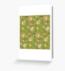 Kawaii Hedgehog green pattern Greeting Card