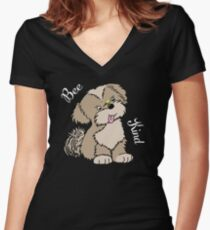 Bee Kind Sweet Lhasa Apso Dog Design Fitted V-Neck T-Shirt with White Text Fitted V-Neck T-Shirt