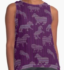 Shetland Fairisle Dancing Ponies - Purple Sleeveless Top