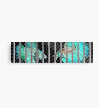 Negative Fish Behind Bars on Transparency Grid Metal Print